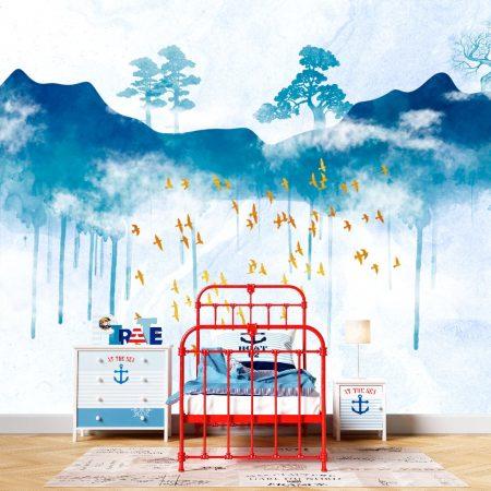 Фототапет Рисувани сини планини
