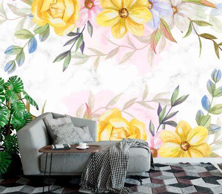 Фототапет Мраморна стена в цветя