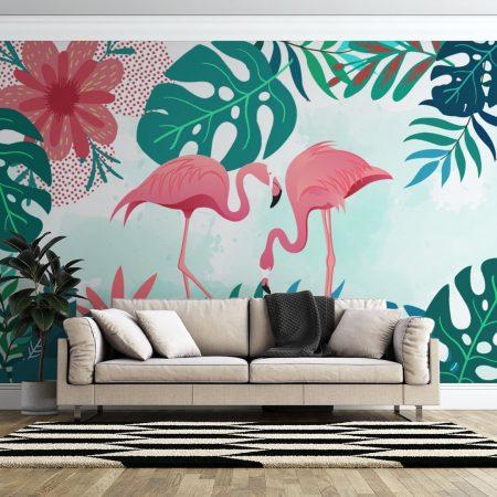 Фототапет Цветя и фламинго