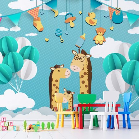 Фототапет Семейство жирафчета 2