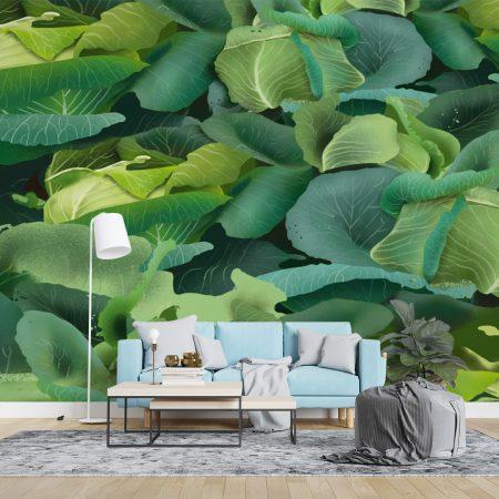 Фототапет Стена от зелени листа