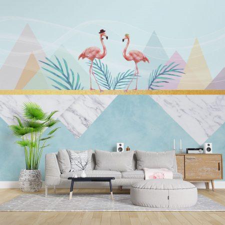 Фототапет Семейство фламинго