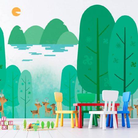 Фототапет Детска рисунка на гора