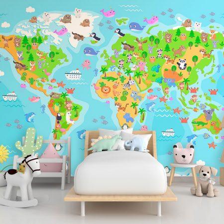 Детски фототапет - Карта с животни