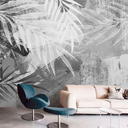 Фототапет - Бели палмови листа
