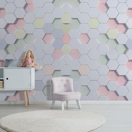 Фототапет Розови шестоъгълници