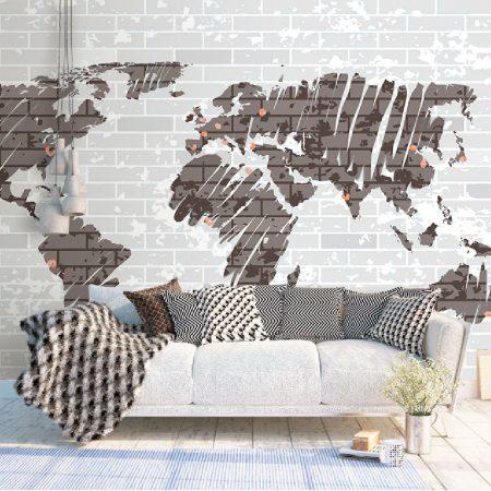 Фототапет Сива карта на света