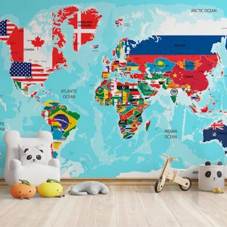 Фототапет - Световна карта със знамена