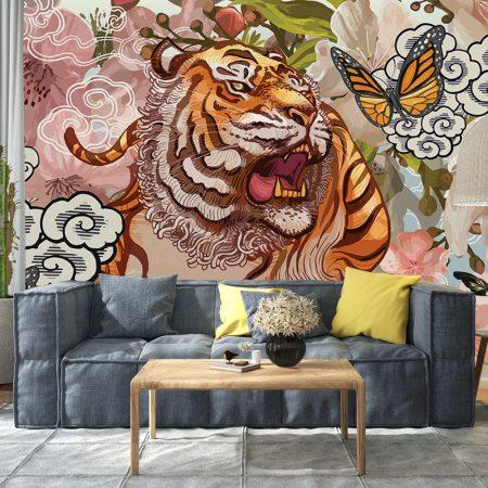 Фототапет - Тигър и пеперуда