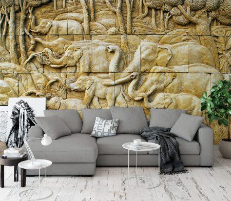 Фототапет стена от слонове