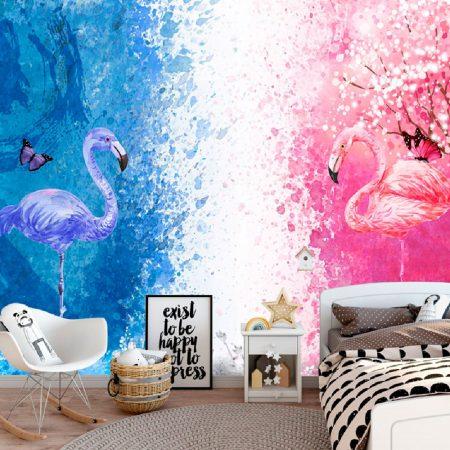 Розово и синьо фламинго