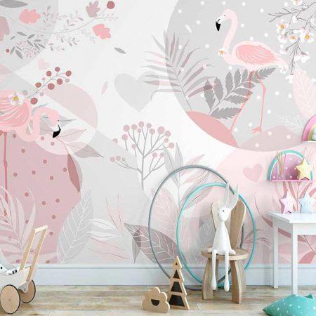 Фототапет - Розово фламинго в гората